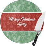 Christmas Holly Round Glass Cutting Board (Personalized)