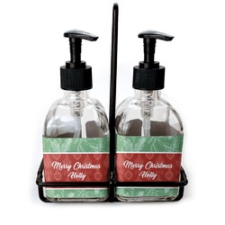 Christmas Holly Soap & Lotion Dispenser Set (Glass) (Personalized)