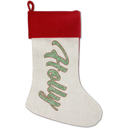 Christmas Holly Red Linen Stocking (Personalized)