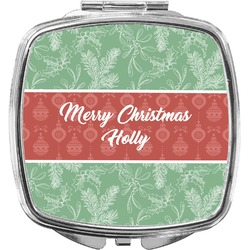 Christmas Holly Compact Makeup Mirror (Personalized)