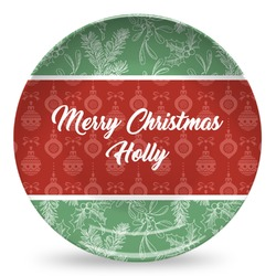 Christmas Holly Microwave Safe Plastic Plate - Composite Polymer (Personalized)