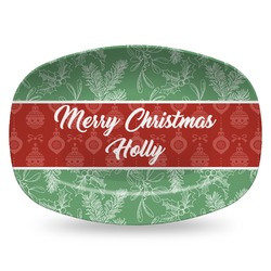 Christmas Holly Plastic Platter - Microwave & Oven Safe Composite Polymer (Personalized)