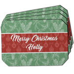 Christmas Holly Dining Table Mat - Octagon w/ Name or Text