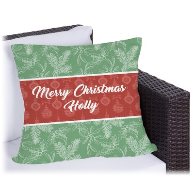 Christmas Holly Outdoor Pillow (Personalized)