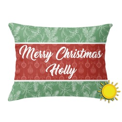 Christmas Holly Outdoor Throw Pillow (Rectangular) (Personalized)