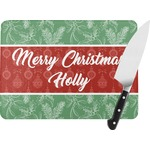 Christmas Holly Rectangular Glass Cutting Board (Personalized)