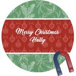 Christmas Holly Round Fridge Magnet (Personalized)