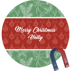 Christmas Holly Round Fridge Magnet (Personalized)