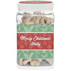 Christmas Holly Dog Treat Jar (Personalized)