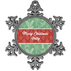 Christmas Holly Vintage Snowflake Ornament (Personalized)