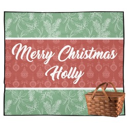 Christmas Holly Outdoor Picnic Blanket (Personalized)