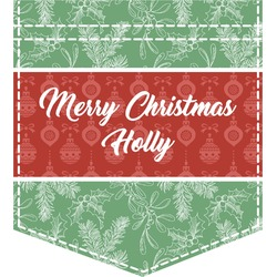 Christmas Holly Iron On Faux Pocket (Personalized)