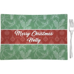 Christmas Holly Glass Rectangular Appetizer / Dessert Plate - Single or Set (Personalized)