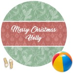 Christmas Holly Round Beach Towel (Personalized)