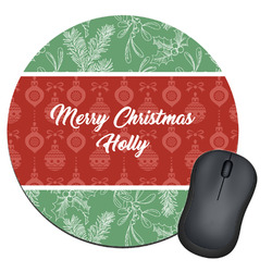 Christmas Holly Round Mouse Pad (Personalized)