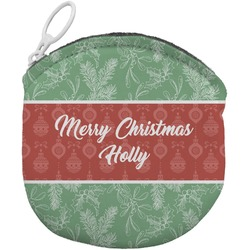 Christmas Holly Round Coin Purse (Personalized)