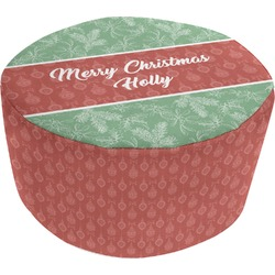 Christmas Holly Round Pouf Ottoman (Personalized)