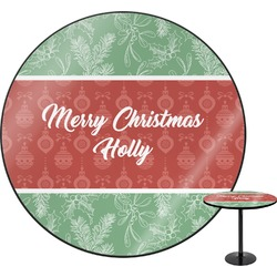 """Christmas Holly Round Table - 30"""" (Personalized)"""