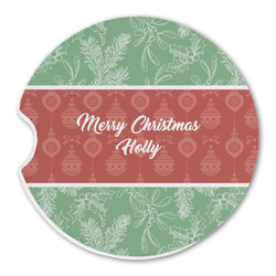 Christmas Holly Sandstone Car Coasters (Personalized)