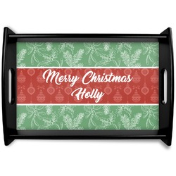 Christmas Holly Black Wooden Tray - Small (Personalized)