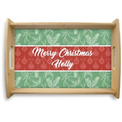 Christmas Holly Natural Wooden Tray - Small (Personalized)