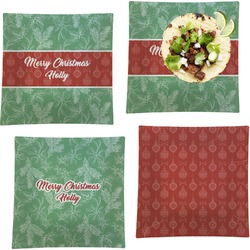 """Christmas Holly Set of 4 Glass Square Lunch / Dinner Plate 9.5"""" (Personalized)"""