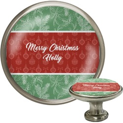 Christmas Holly Cabinet Knob (Silver) (Personalized)
