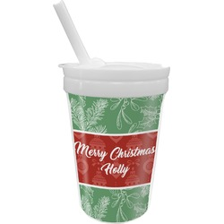 Christmas Holly Sippy Cup with Straw (Personalized)