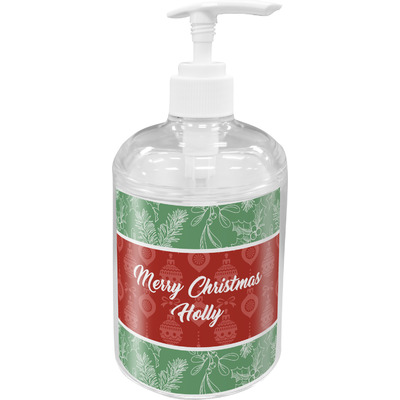 Christmas Holly Acrylic Soap & Lotion Bottle (Personalized)