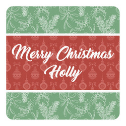 Christmas Holly Square Decal - Large (Personalized)