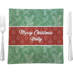 """Christmas Holly Glass Square Lunch / Dinner Plate 9.5"""" - Single or Set of 4 (Personalized)"""