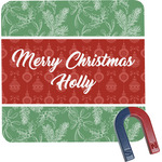 Christmas Holly Square Fridge Magnet (Personalized)