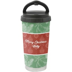 Christmas Holly Stainless Steel Travel Mug (Personalized)