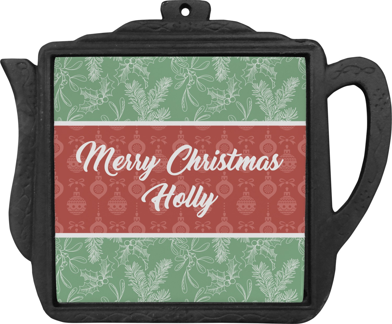 Christmas Holly Teapot Trivet (Personalized)