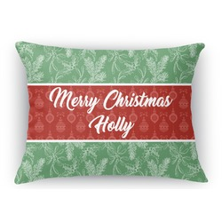 Christmas Holly Rectangular Throw Pillow Case (Personalized)