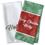 Christmas Holly Waffle Weave Kitchen Towel (Personalized)