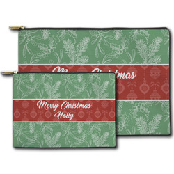 Christmas Holly Zipper Pouch (Personalized)