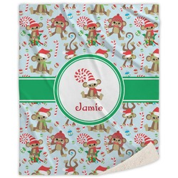 Christmas Monkeys Sherpa Throw Blanket (Personalized)
