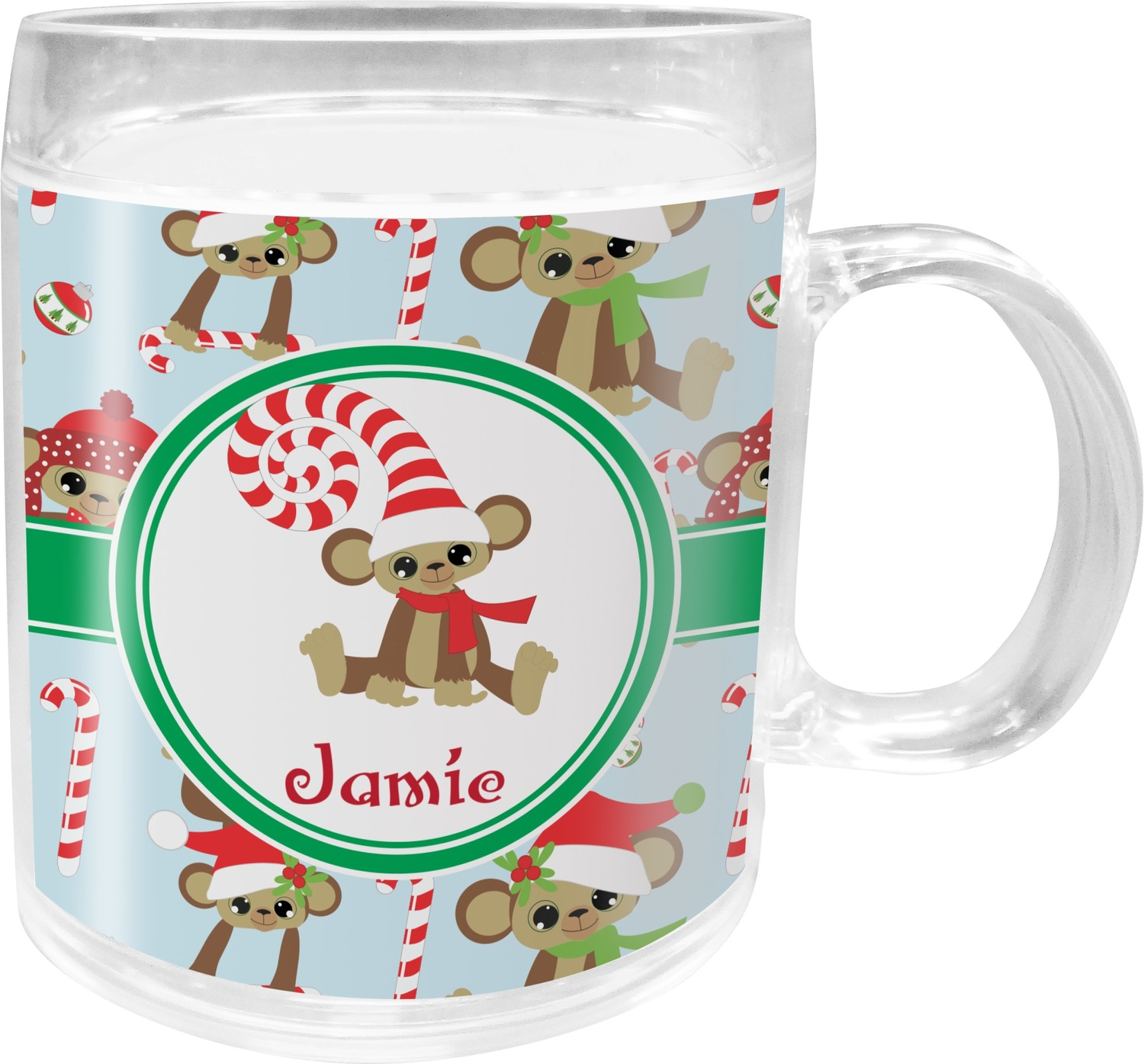 Christmas Monkeys Acrylic Kids Mug (Personalized) - YouCustomizeIt