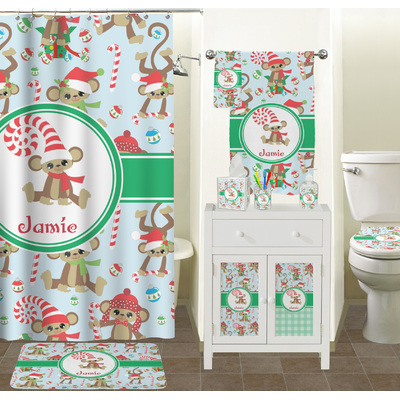 Christmas Monkeys Bathroom Accessories Set Personalized