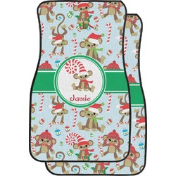 Christmas Monkeys Car Floor Mats (Front Seat) (Personalized)
