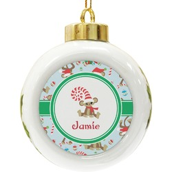 Christmas Monkeys Ceramic Ball Ornament (Personalized)