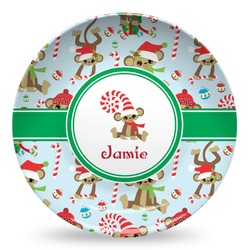 Christmas Monkeys Microwave Safe Plastic Plate - Composite Polymer (Personalized)