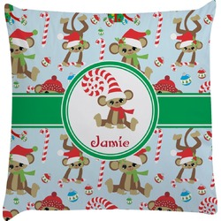 Christmas Monkeys Decorative Pillow Case (Personalized)