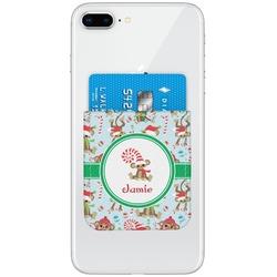 Christmas Monkeys Genuine Leather Adhesive Phone Wallet (Personalized)
