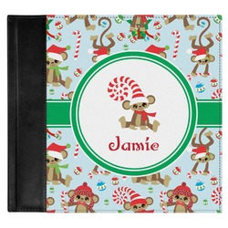 Christmas Monkeys Genuine Leather Baby Memory Book (Personalized)