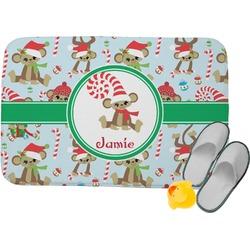 Christmas Monkeys Memory Foam Bath Mat (Personalized)