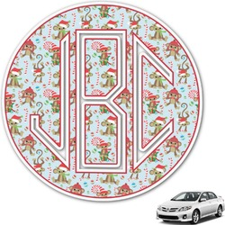 Christmas Monkeys Monogram Car Decal (Personalized)