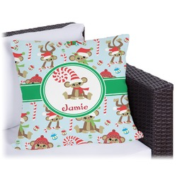 Christmas Monkeys Outdoor Pillow (Personalized)