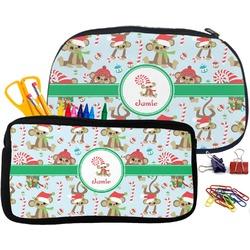 Christmas Monkeys Pencil / School Supplies Bag (Personalized)